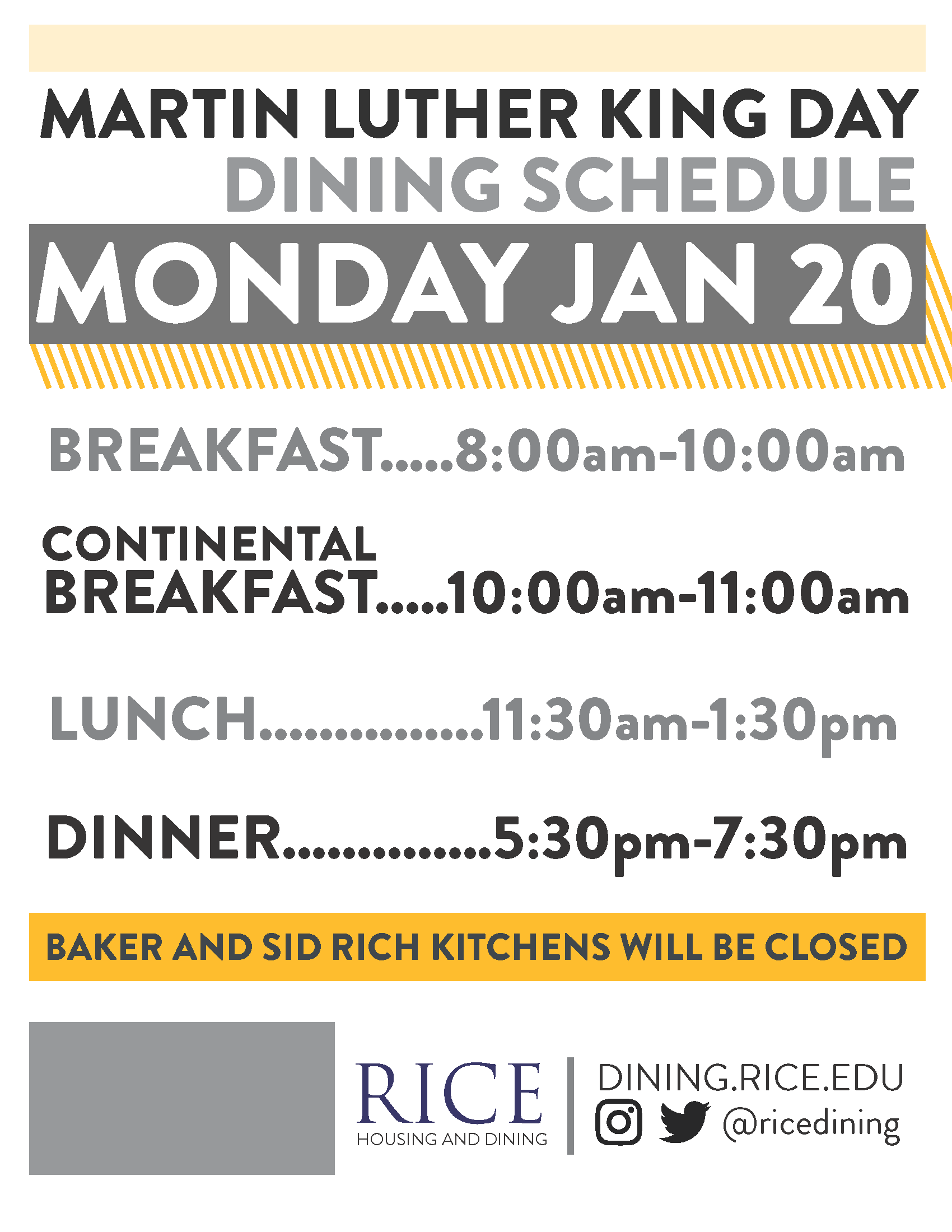 Martin Luther King Jr. Day Meal Schedule